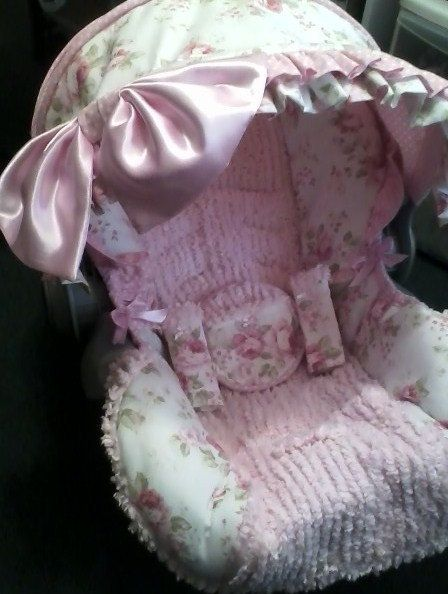 Infant Car Seat Covershabby Chic With Ruffles And Bows Made For Graco Up To 32 Lbs