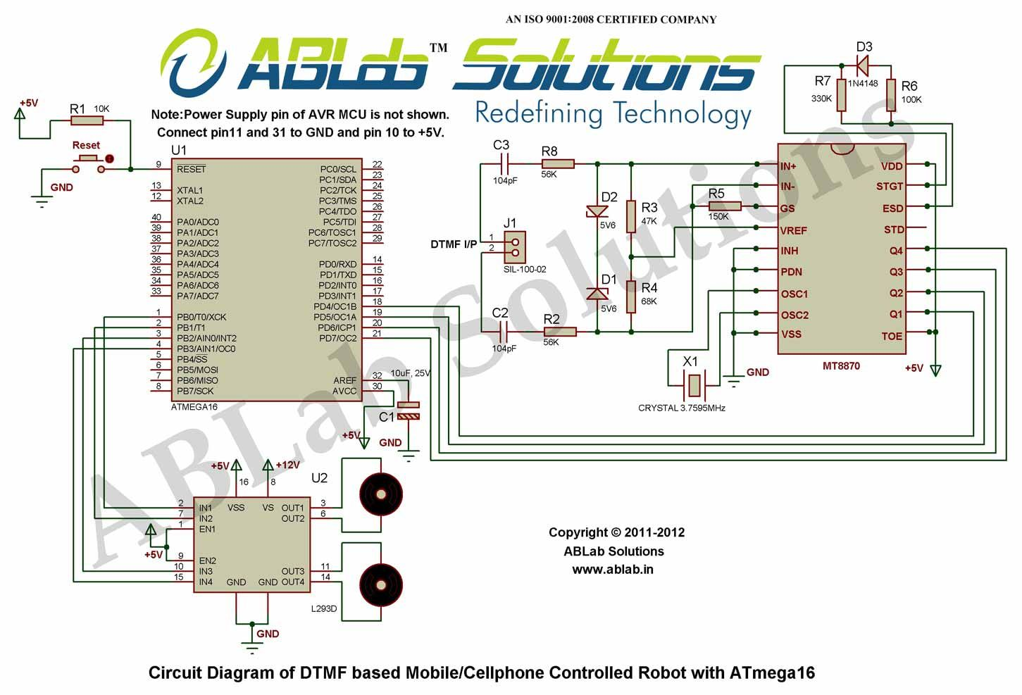 Dtmf Based Mobile Cellphone Controlled Robot With Avr Atmega16 Circuit Diagram Software Microcontroller