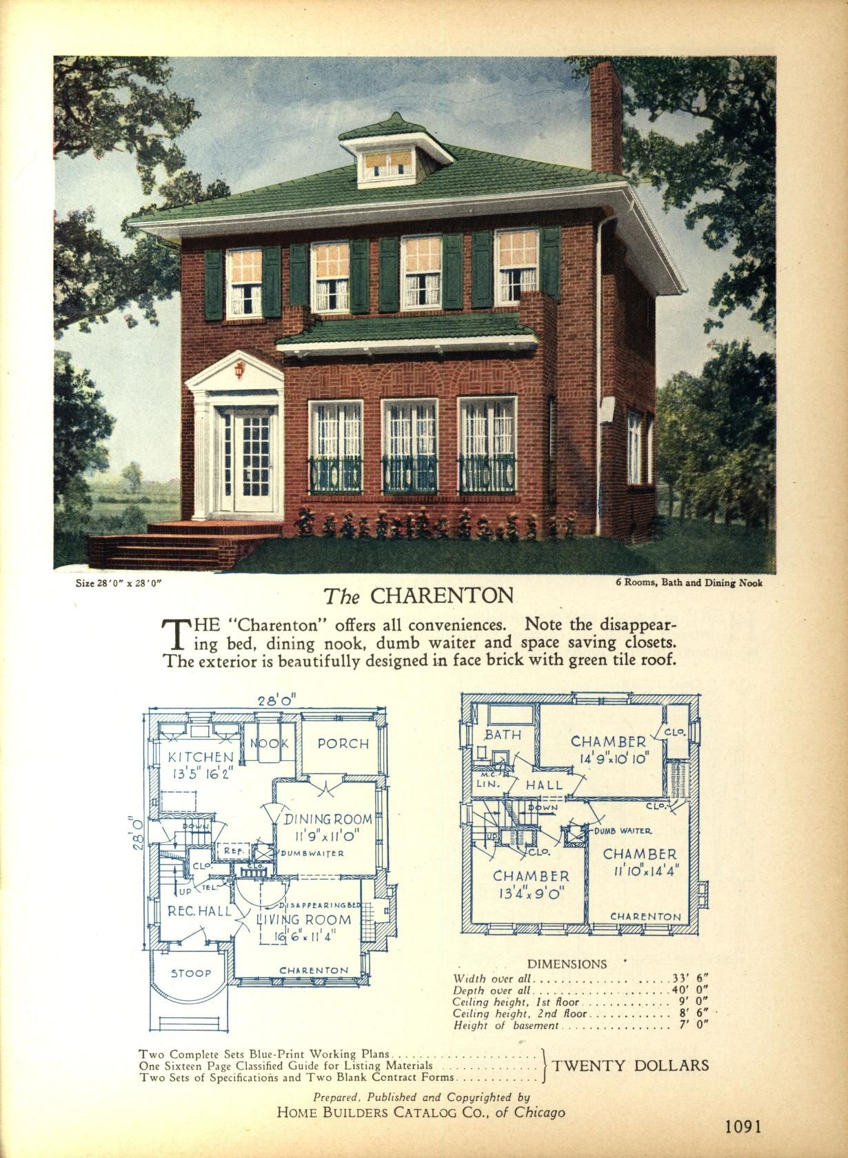 The CHARENTON   Home Builders Catalog: Plans Of All Types Of Small Homes By Home  Builders Catalog Co. Published 1928