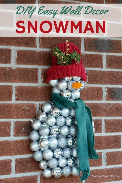 Diy Easy Snowman Wall Decoration With Christmas Ornaments