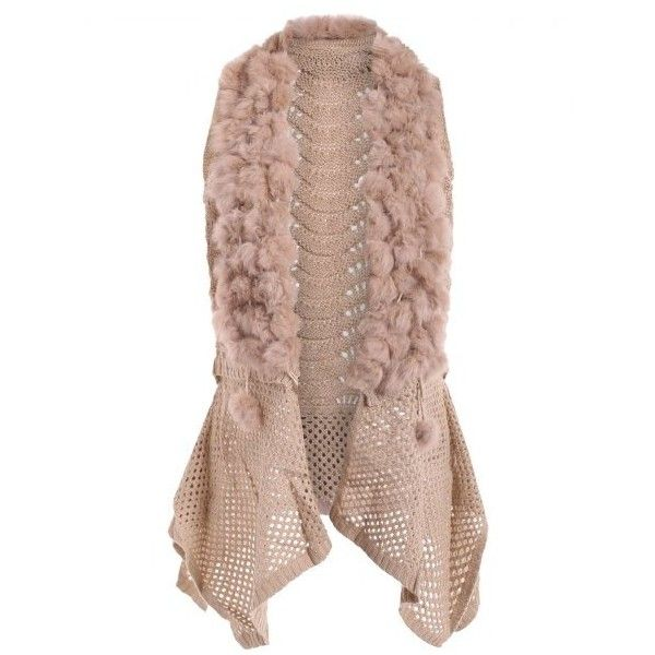 Open Front Faux Fur Embellished Sleeveless Cardigan Apricot ($36) ❤ liked on Polyvore featuring tops, cardigans, embellished cardigan, brown cardigan, sleeveless open front cardigan, no sleeve tops and embellished top