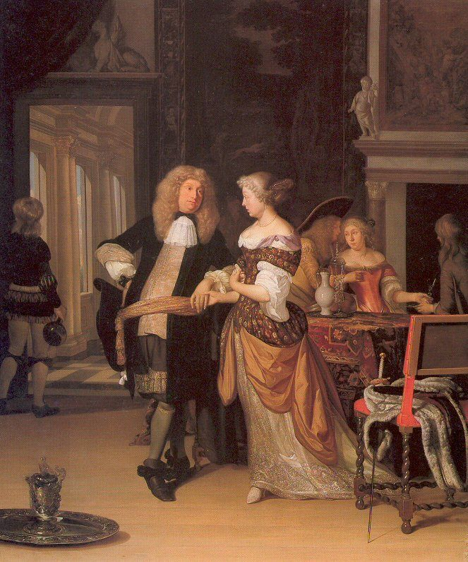 Elegant Couple in an Interior, by painter Eglon van der Neer, 1678