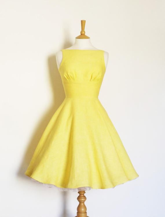 a463d3fcdad3 Sherbet Yellow Linen Tiffany Swing Dress - Made by Dig For Victory ...