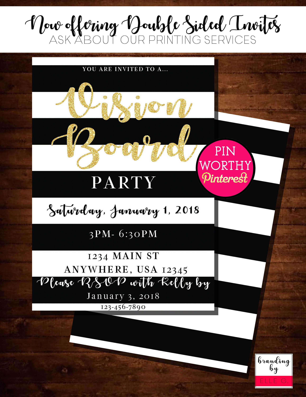 Vision Board Party Invitations Katespadeinspired Vision Board Party Party Invitations Party Invite Template