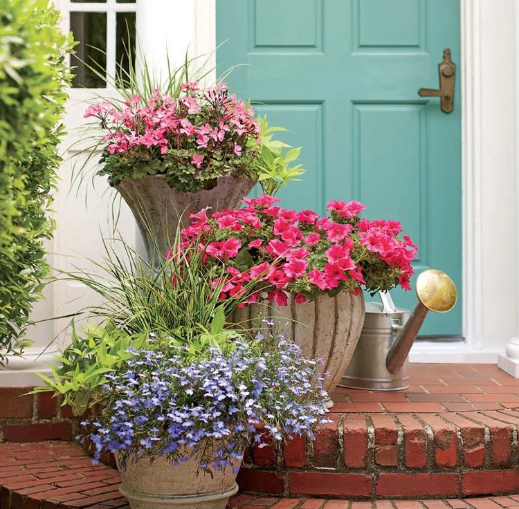 geranien petunien lobelien sommer k bel bepflanzen sommerblumen pinterest. Black Bedroom Furniture Sets. Home Design Ideas