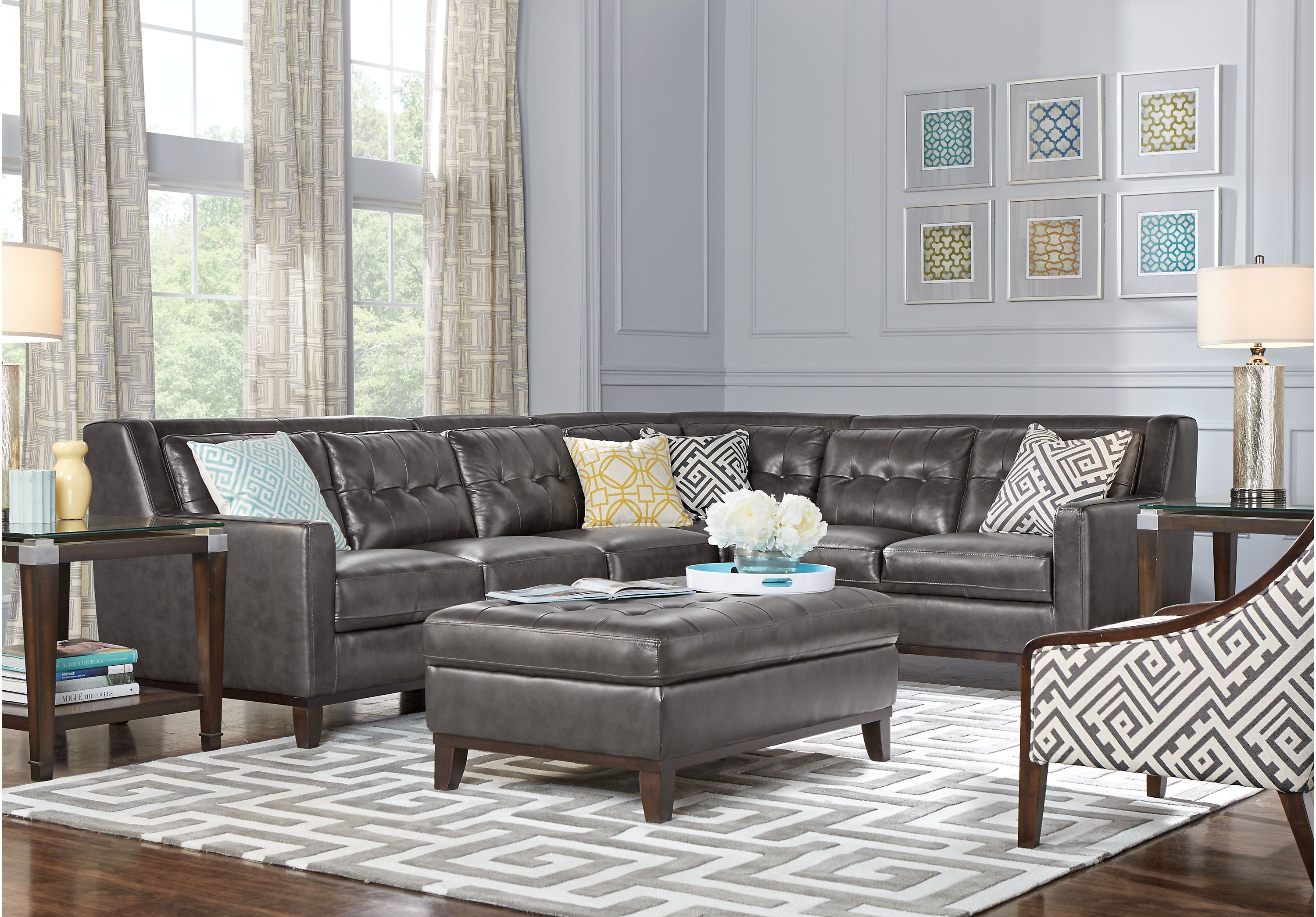 Reina Gray Leather 4 Pc Sectional Home Inspirations