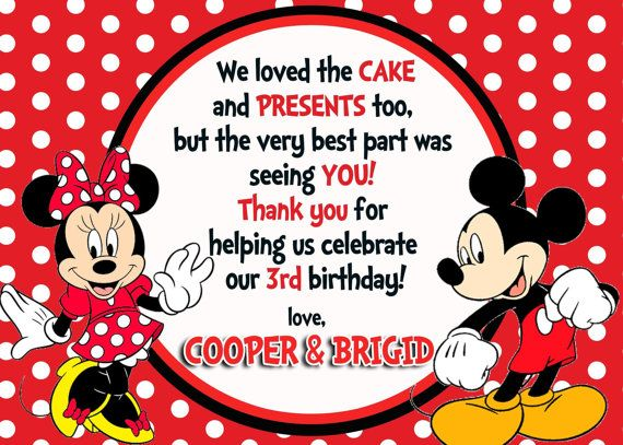 Thank You Card By Asapinvites On Etsy 10 00 Minnie Mouse Invitations Minnie Mickey Mouse Invitation
