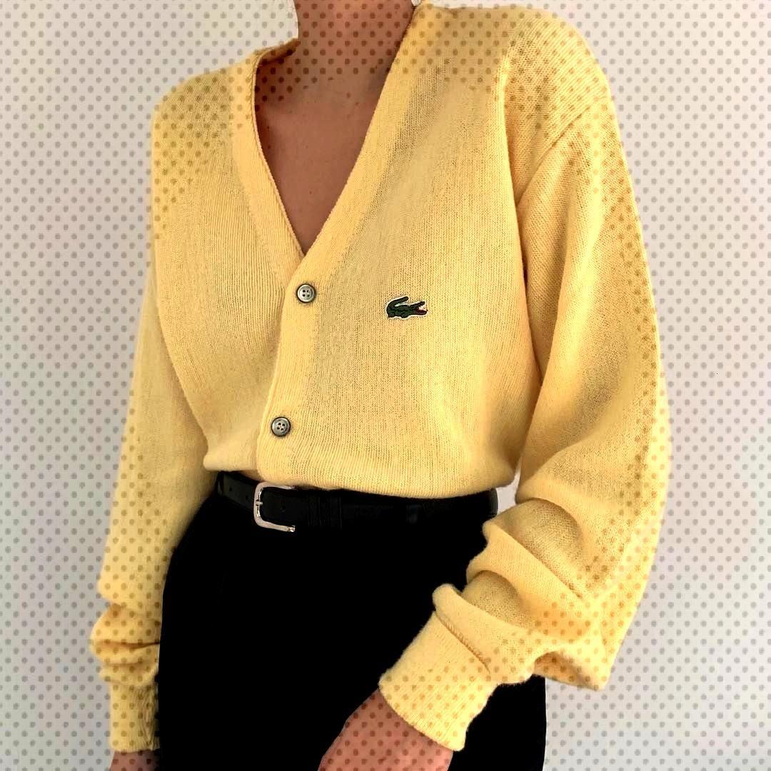 """Deux Birds Vintage on Instagram """"Incredible vintage designer Lacoste lemon chunky knit cardigan"""