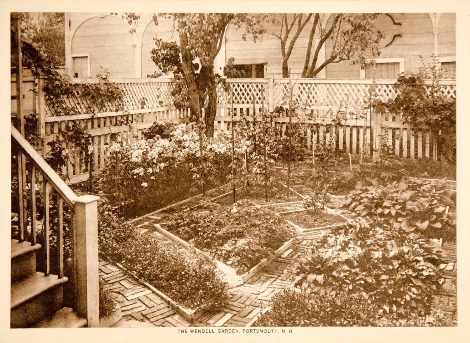 1916 Photogravure Barrett Wendell Garden Portsmouth New Hampshire Hist - Period Paper