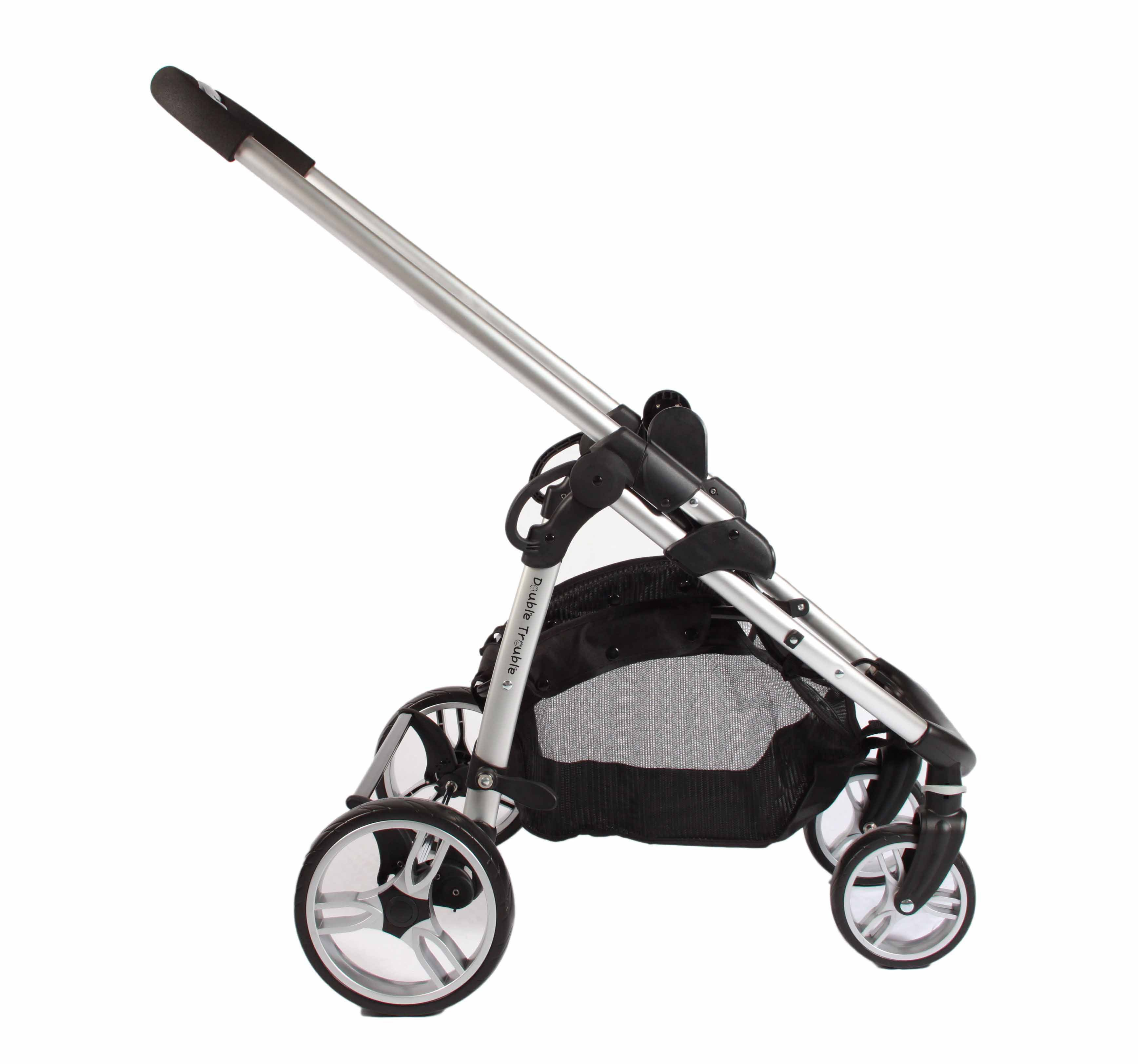 Side view of single pram frame (with shopping basket