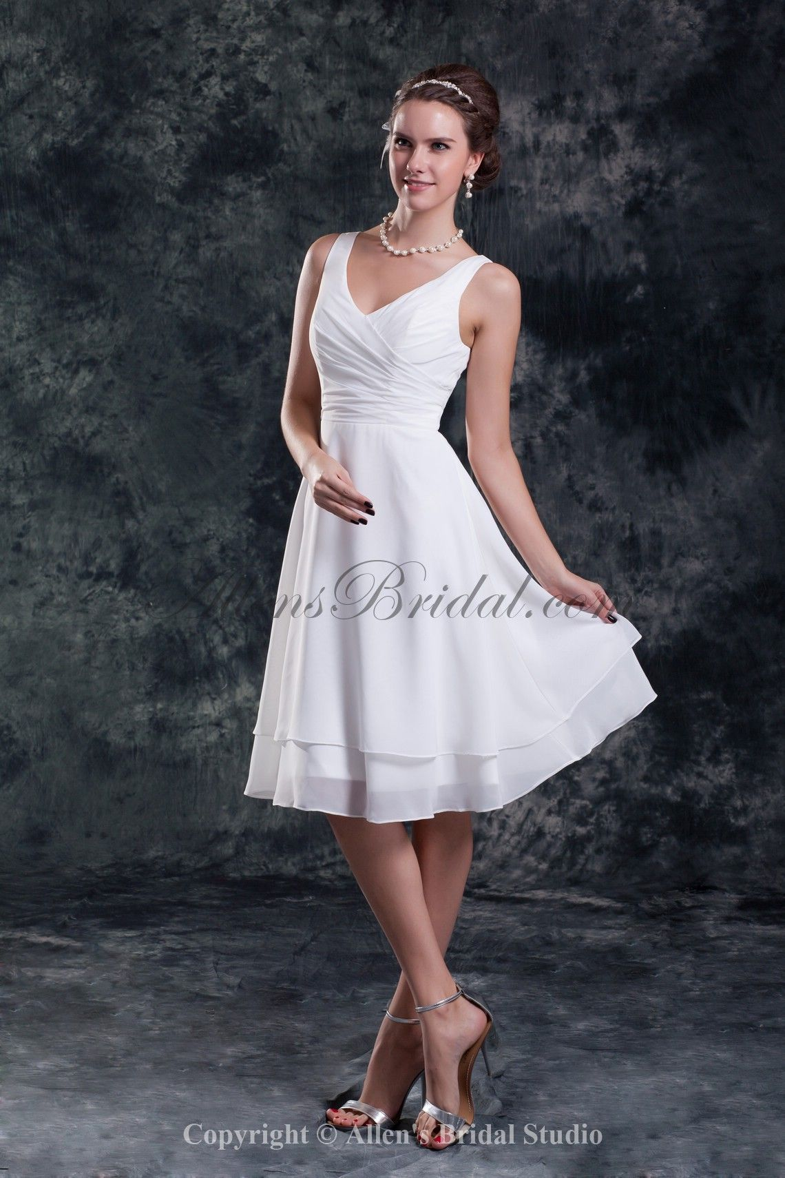 2cfc9d1782d7 Chiffon V-Neck Neckline Knee Length Column Short Wedding Dress ...