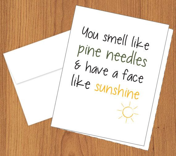Funny Cards  You Smell like Pine Needles & Have a by PlumaPaper, $3.75