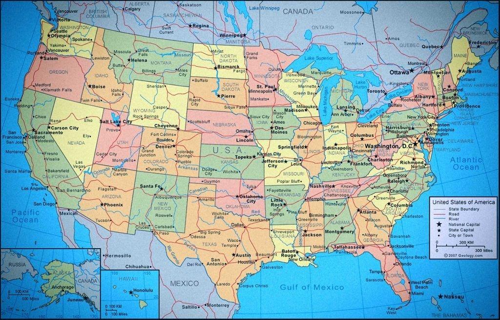 Estados Unidos De América Situación De Cada Uno De Los 50 Estados Sus Capitales Y Ciudades Mapa De Estados Unidos Imágenes De Mapas Estados Unidos De América