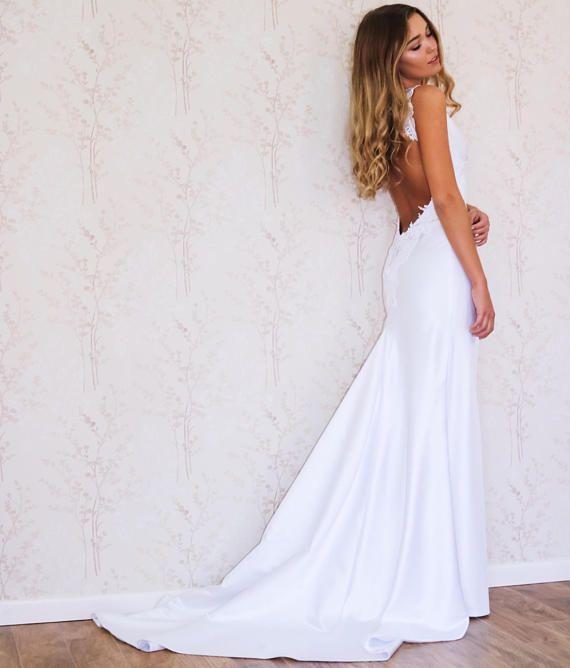 Backless Wedding Dress/ Simple Wedding Dress/ Boho Wedding Dress ...