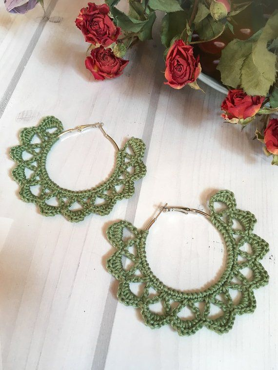 104. ONE Crochet Earrings Pattern, Earring pattern, Crochet Hoop Earrings, Hoop Earrings Pattern, easy pattern for beginners #crochetedearrings