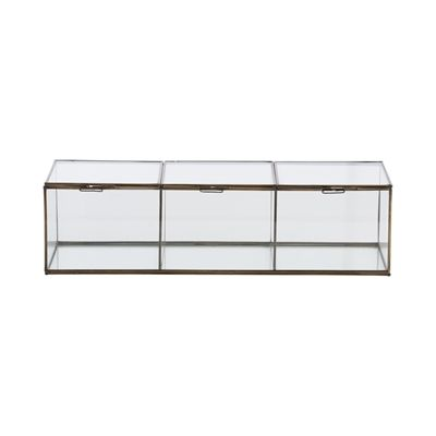 Originally used by apothecaries, these glass storage boxes are perfect for displaying collectibles or jewelry. You can even put them next to the bathtub and fill with your favorite bath salts. They open from the top with a delicate antique brass metal ring handle.