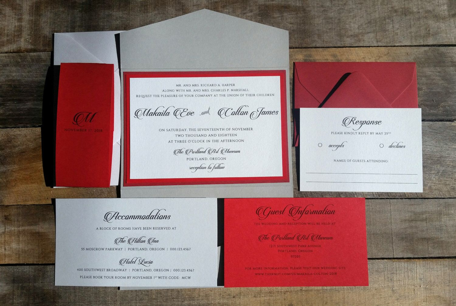Red and Grey Wedding Invitation Suite, Wedding Invitation ...