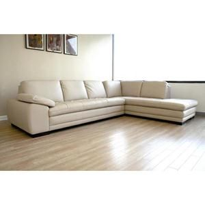 Nebraska Furniture Mart – Baxton Studio Diana 2-Piece White Leather Sectional Sofa With Chaise....like the clean lines.