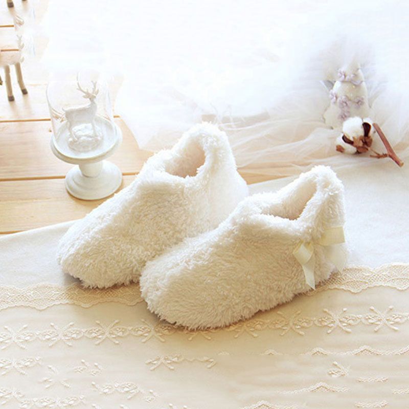 536df7f3896 High end Lovely Home Floor Soft Women Indoor Slippers Comfortable Bow Shoes  Warm Winter Home Shoes Home Slippers SHS170-in Slippers from Shoes on ...
