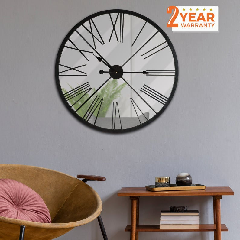 Rustic Metal Mirror Wall Clock 27 6 Inches Oversized Home Decoration Hallway Vintage Retro Decal Classic Gift Living Room Bedroom Decoration In 2020 Mirror Wall Clock Home Decor Iron Wall