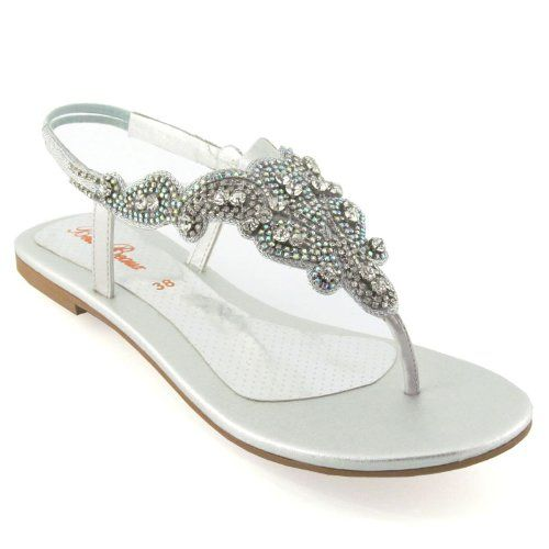 Las Flat Diamante Toe Post Womens Sparkley Dressy Party Sandals Size 3 8 Co Uk Shoes Bags