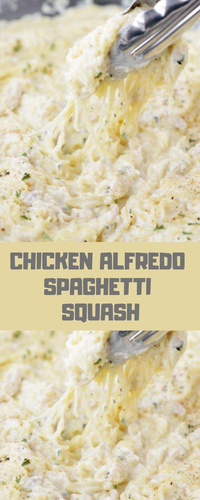 CHICKEN ALFREDO SPAGHETTI SQUASH #chickenalfredo