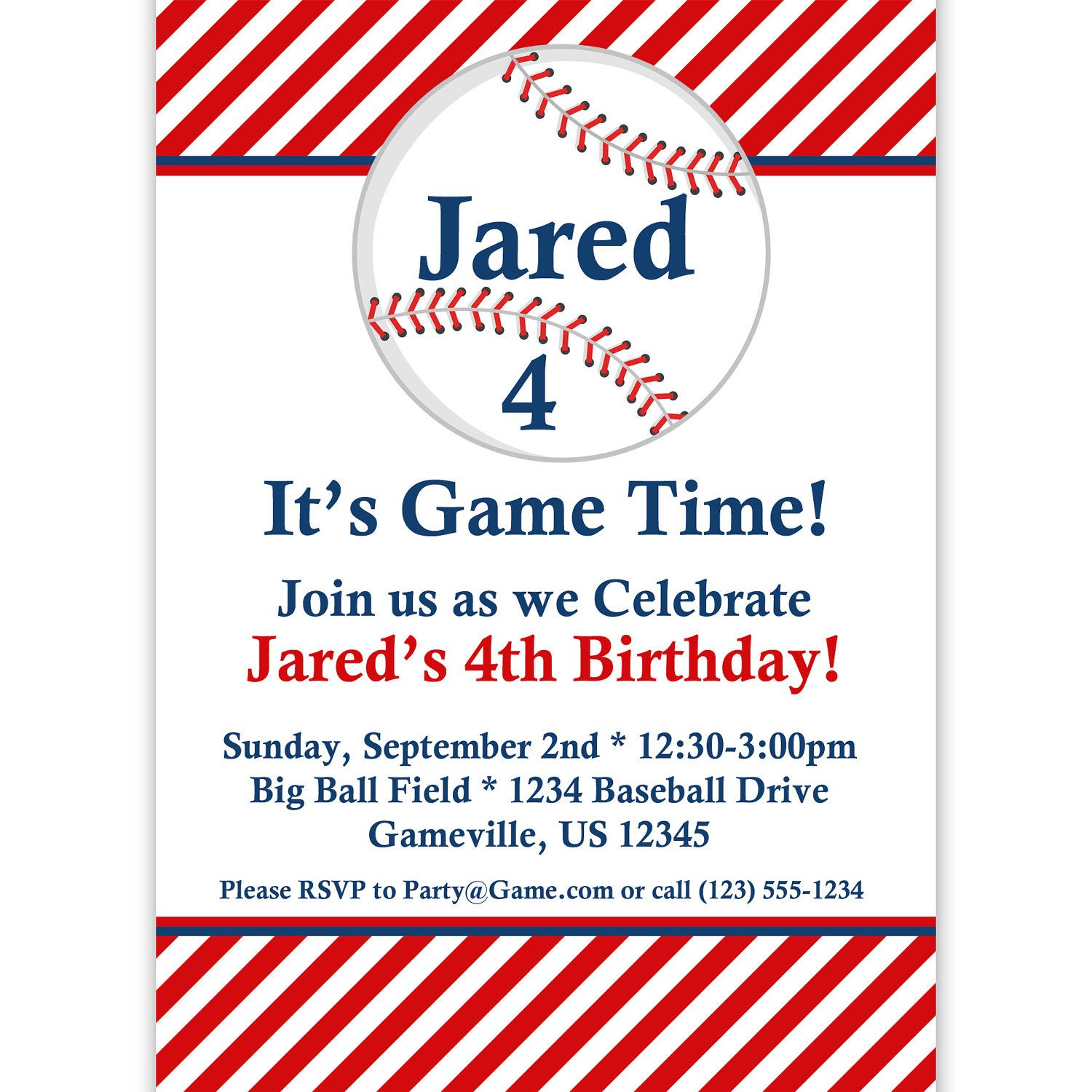 Download Now Free Printable Baseball Birthday Invitations
