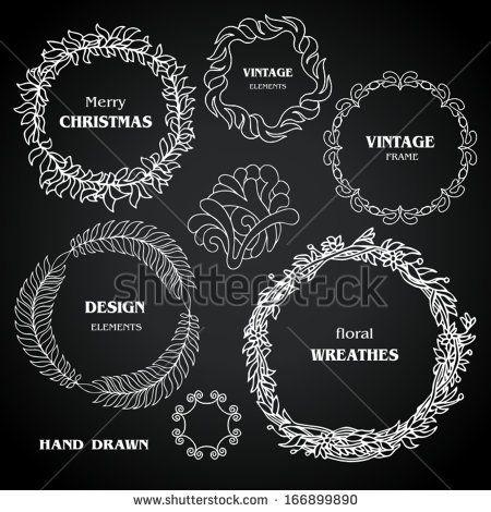 Vintage  black chalkboard wreaths, vignettes, frames set, drawing doodle style, ornamental, cute calligraphic design elements, creative decorations, retro decor, grunge floral patterns templates  - stock vector