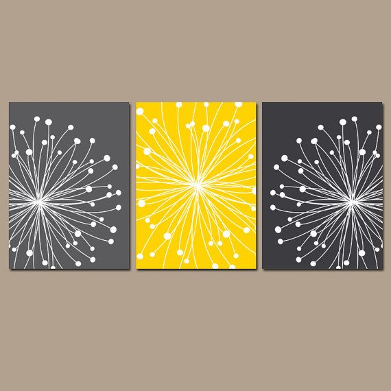 Yellow And Grey Bathroom Wall Decor : Dandelions wall art canvas or prints gray yellow bedroom