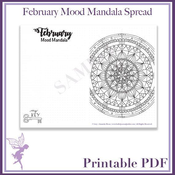 Bullet Journal  February  Mood Mandala  Printable Pdf Page
