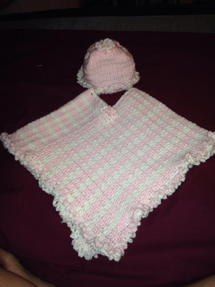 Baby poncho/shawl and cap
