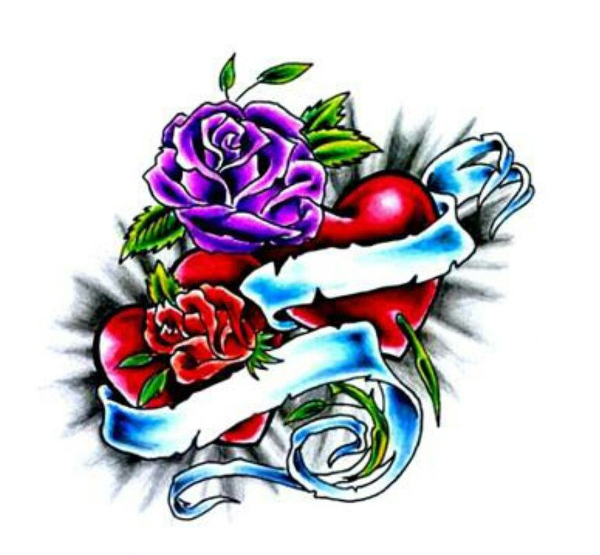 Heart With Rose And Banner: Rose Heart Tattoo, Red Heart