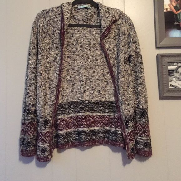 lightweight sweater Aztec printed lightweight sweater/cardigan, cute to dress up or down, hooded Maurices Sweaters Cardigans