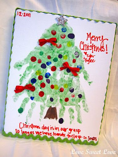 A Cute Christmas Craft And Its Totally Easy All You Do Is Get Some Green Paint Then Your Kids Hand Ad Use The Back Or Paintbrush Make