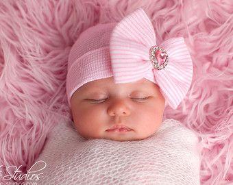 Newborn Hospital Hat Bow Baby Girl Hospital Hat by SkylarnMe  22465210d7a