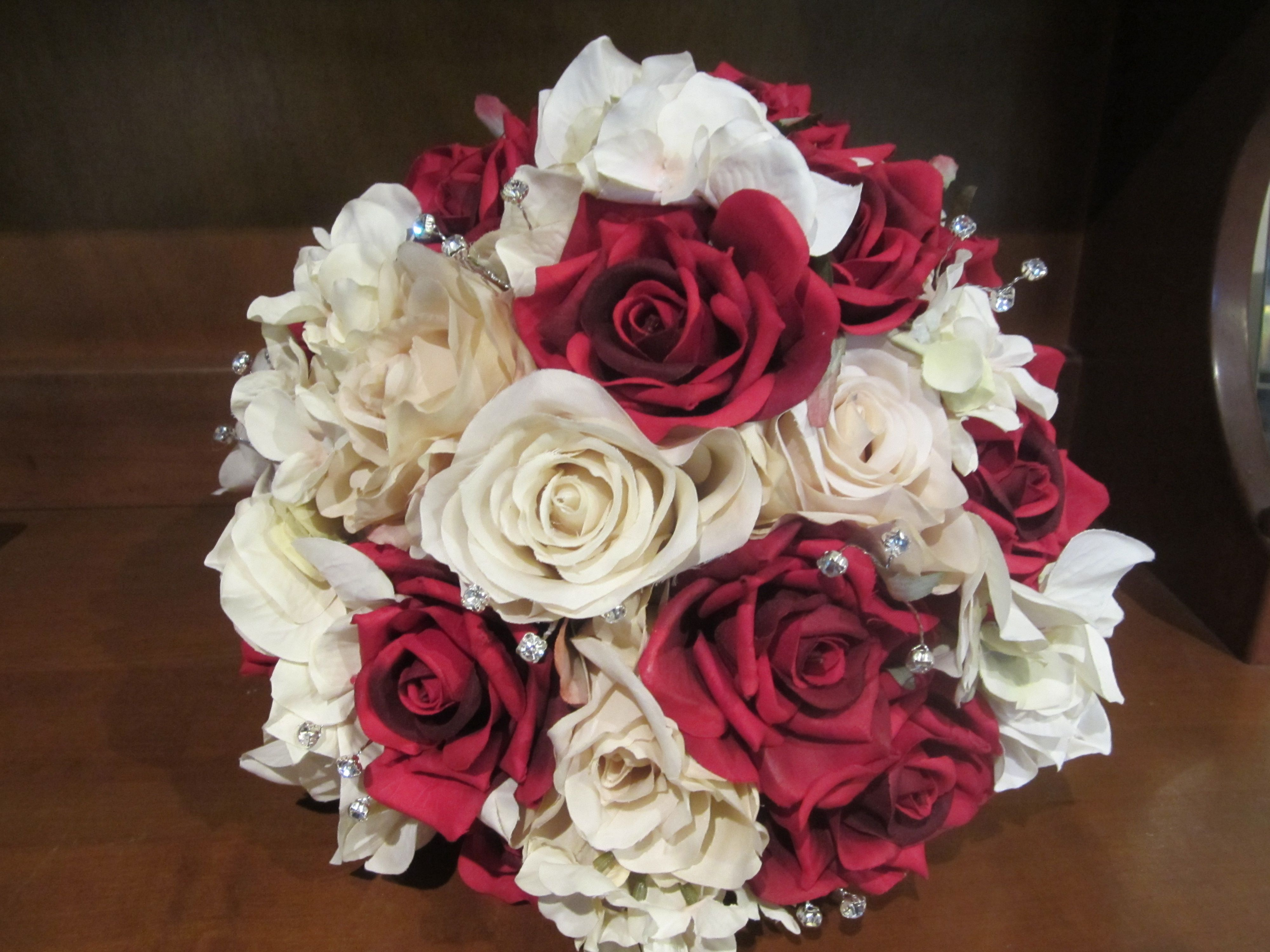 Bridal Bouquet Of Silk Red Roses Cream Roses And White Hydrangea
