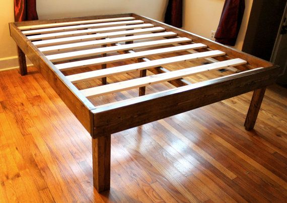 Rustic Wood Minimalist Bed Frame Twin Full Queen Home