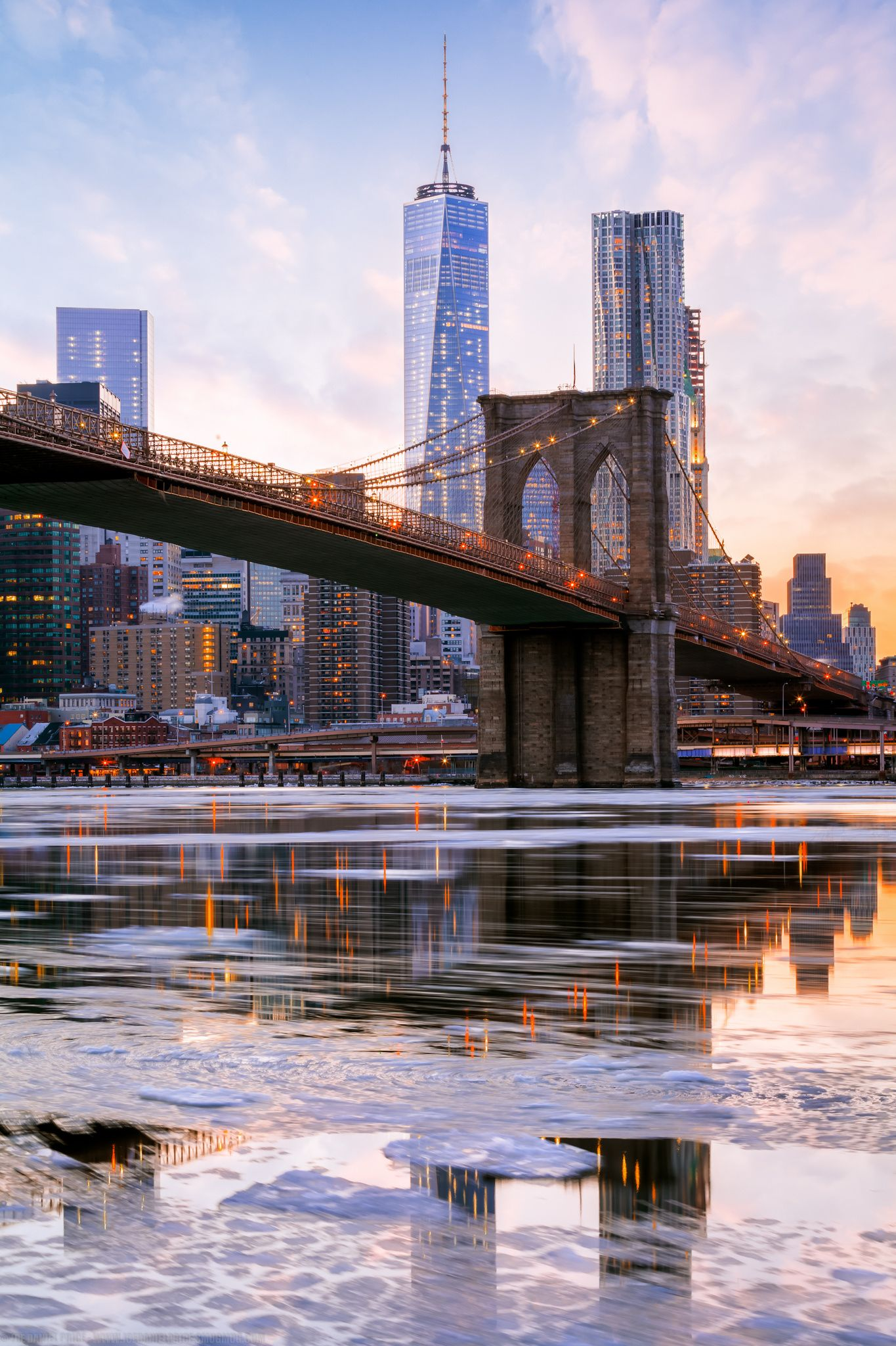 Icy East River, Freedom Tower, Brooklyn Bridge, New York