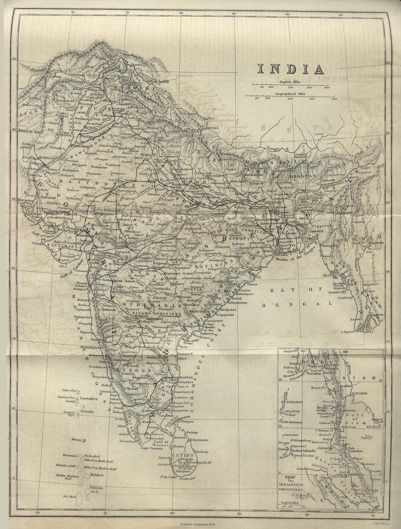 old map of india depicting all of the south asian subcontinent as