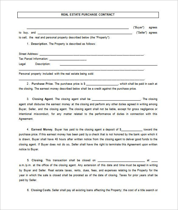 7+ Real Estate Contract Templates u2013 Free Word, PDF Format Download - free home sale contract