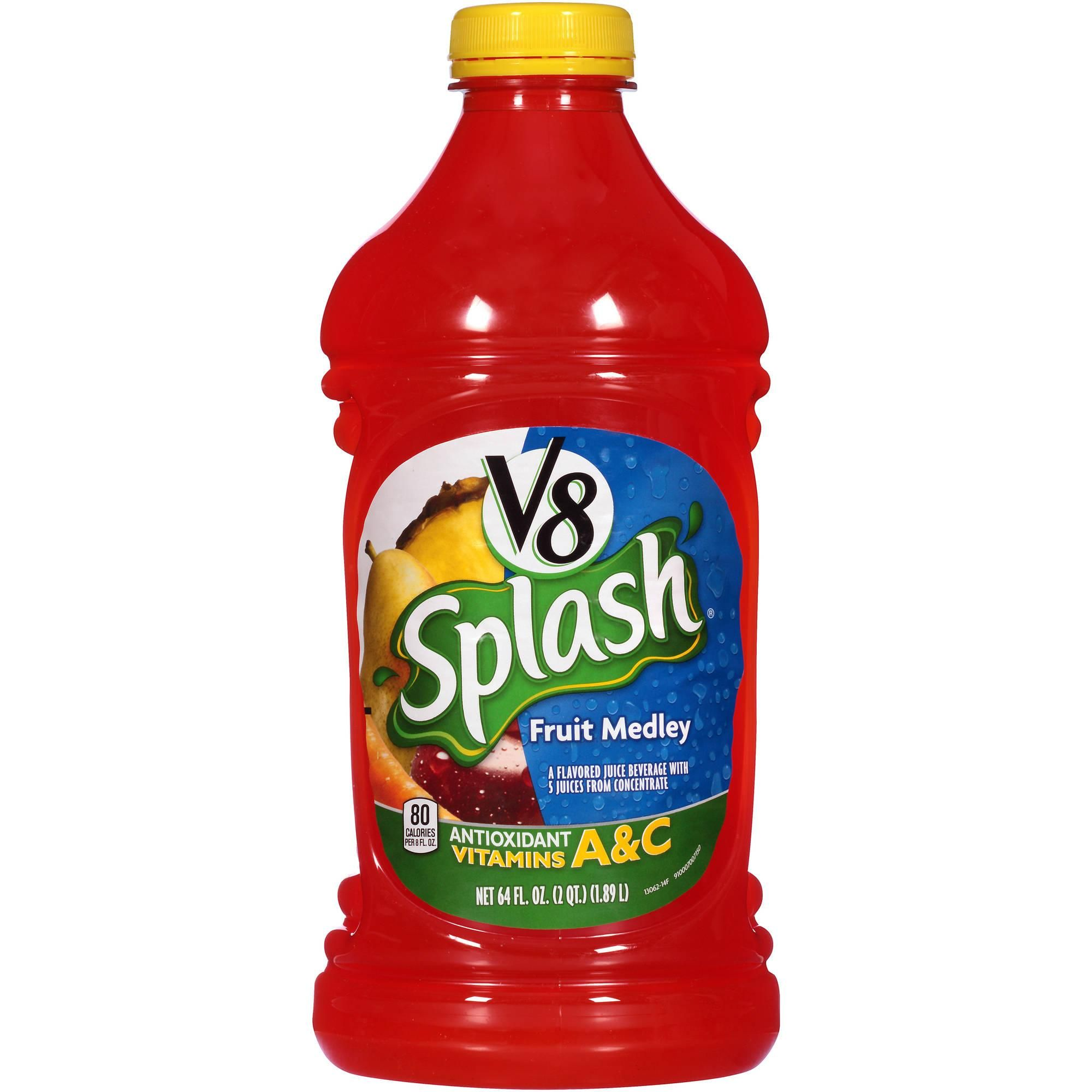V8 Splash Fruit Medley 64 Oz Walmart Com Raspberry Smoothie Juice Flavors Slim Smoothies