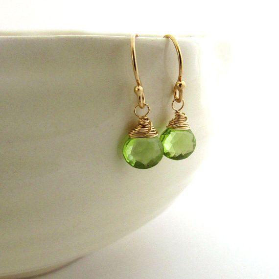 ae66e12cb Gold peridot earrings, Lime green gemstone earrings, Gold filled delicate  earrings, August birthstone jewelry, Apple green peridot jewelry