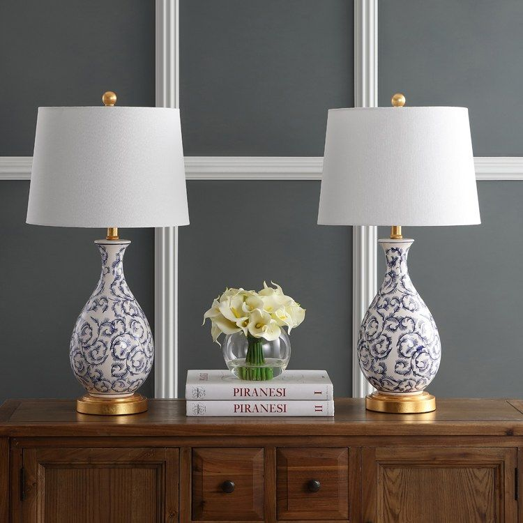Avi Single Light Table Lamps Set Of 2 Blue White In 2021 Classic Table Lamp Table Lamp Sets Lamp Living room table lamp sets