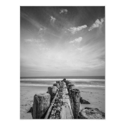 Jetty at the new jersey shore photo print black and white gifts unique special bw