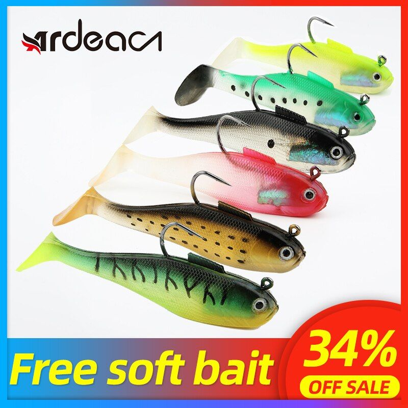 Soft Squid Skirts Lures w//Hooks Lead Jig Head Fishing Lures Baits Saltwater