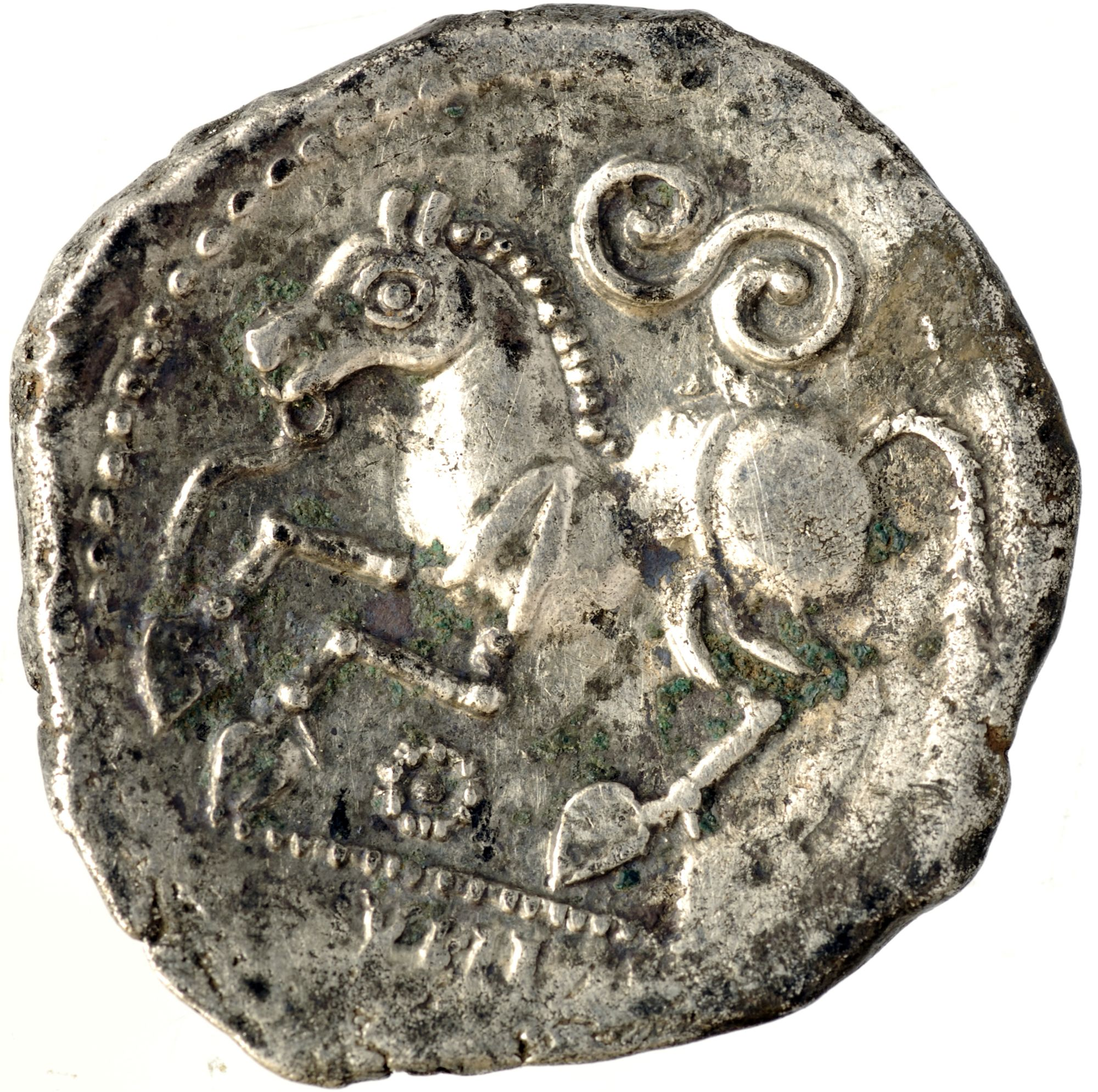 Gallic silver coin with traditional Celtic horse and serpent iconography