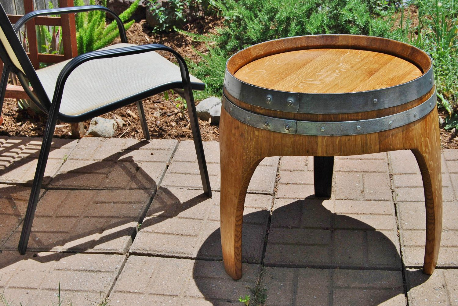 Wine Barrel Arched End Table with 3 Legs from Napa Valley Garden