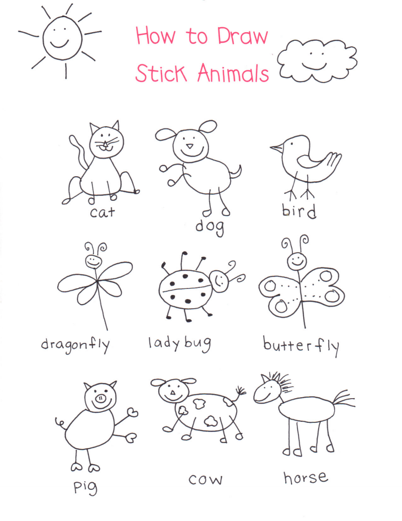 How To Draw Stick Animals Pdf Kindergarten Art Art For Kids Drawing For Kids