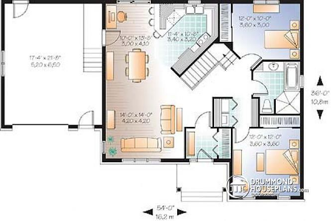 1st Level Country Rustic Style Ranch Bungalow House Plan With Open
