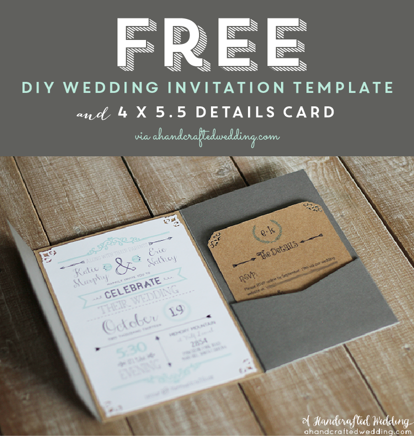FREE Printable Wedding Invitation Template via ahandcraftedweddingcom